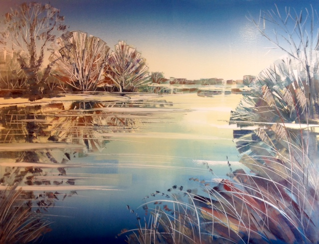 Clare Buchta - Dinton Pastures Winter (Oil Painting)
